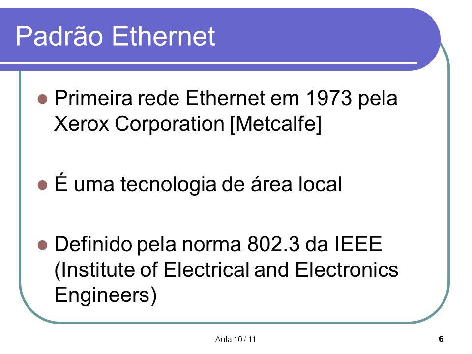 Padrão Ethernet Primeira rede Ethernet em 1973 pela Xerox Corporation [Metcalfe] É uma tecnologia de área local.